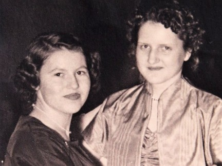 Christa & Helga (my mom) at a party in Germany sometimes in the 1950's